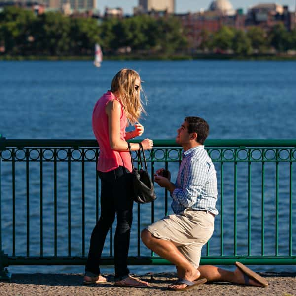 MIT Bridge, Mass Ave Bridge, Harvard Bridge marriage proposal by the Boston Charles River