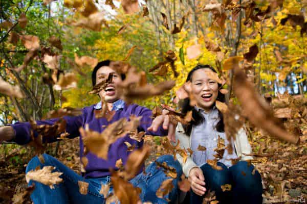Fall Foliage Engagement session photos at Larz Anderson Park in Brookline, MA