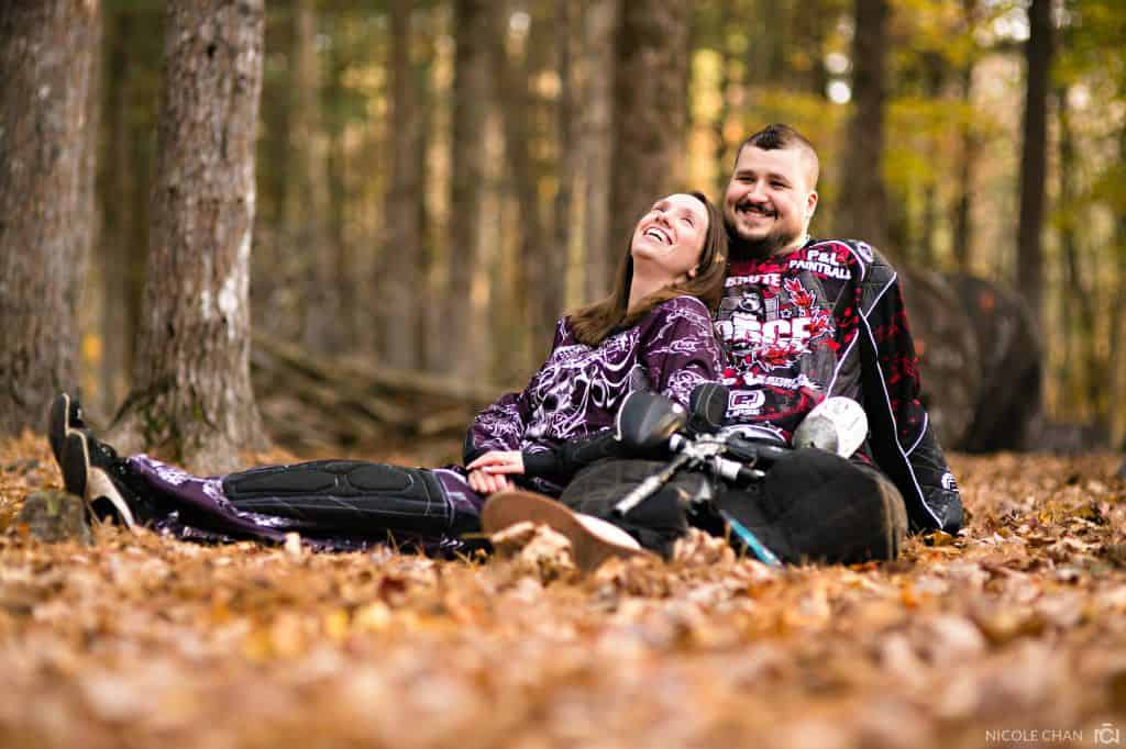 Paintball engagement session photos