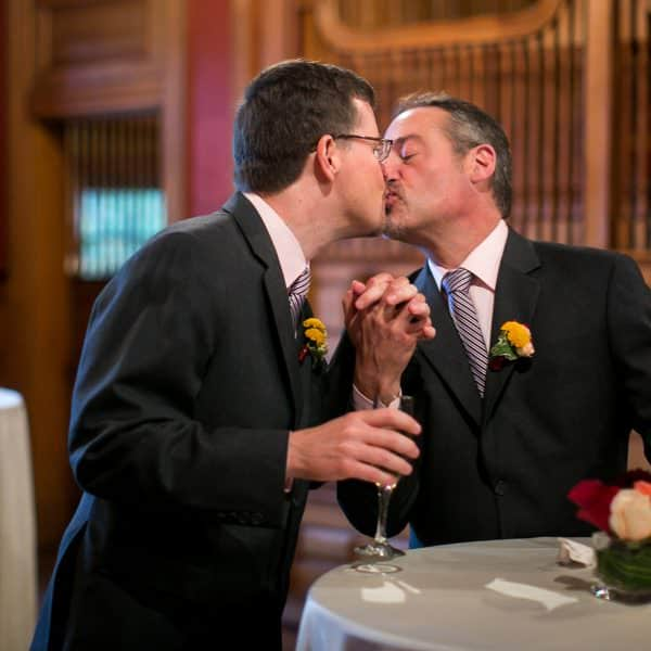 Same sex couple intimate wedding at Gore Place in Waltham, MA