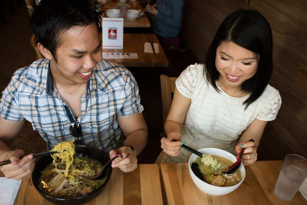 Ramen-themed engagement sessions and Jamaica Plain Pond Engagement session photos
