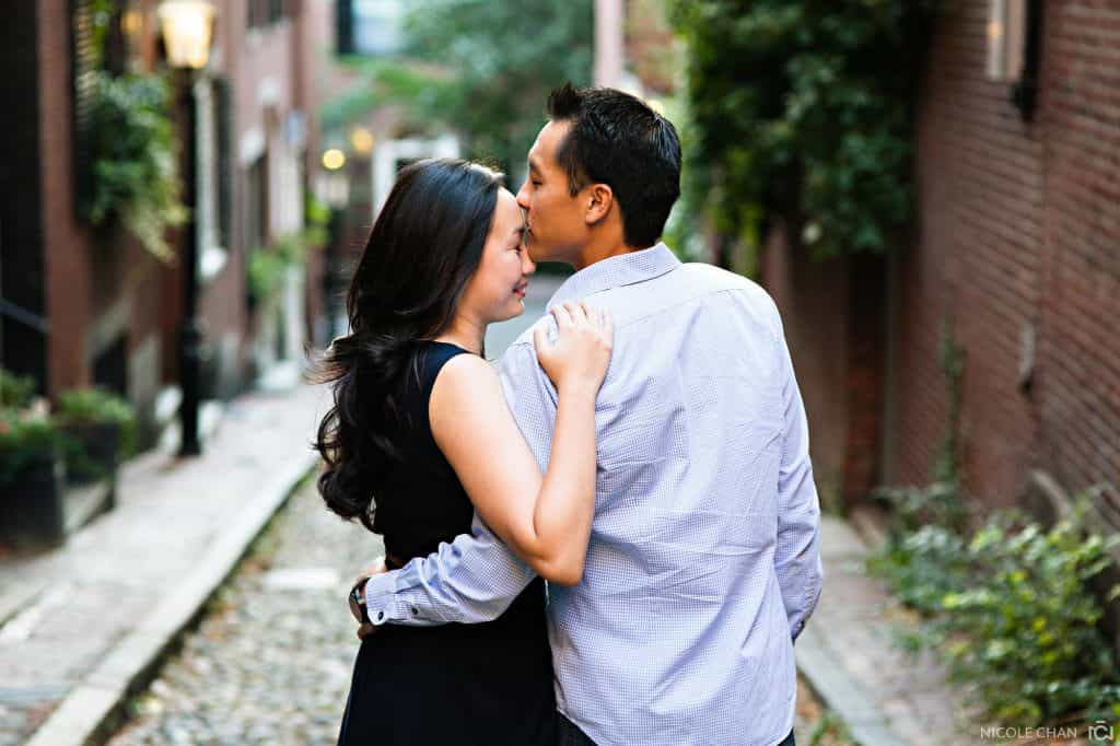 Beacon Hill Acorn St sunset Engagement session photos in Boston, MA
