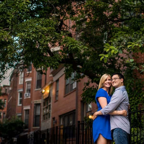 Boston South End Engagement photos at sunset with bride and groom's pet pomeranians