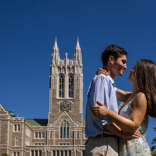Boston college campus engagement session photos in chestnut hill, ma