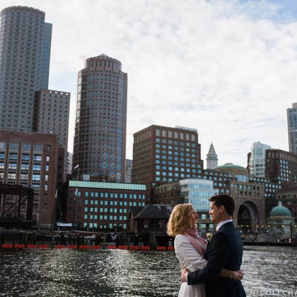 Intimate and Small Boston wedding photos at Christopher Columbus Park on the Boston Harbor Waterfront