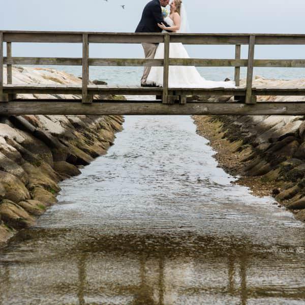 outdoor cape cod wedding ceremony and Flying Bridge wedding photos