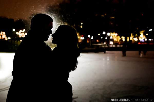 Night winter Back Bay engagement session in Boston