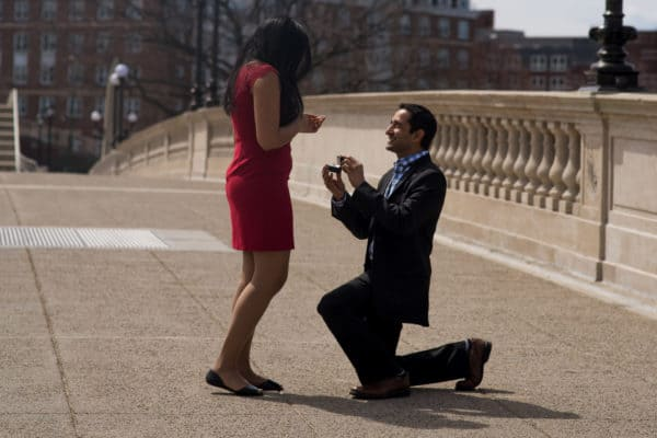 Cambridge John Weeks Bridge Marriage Proposal Photography