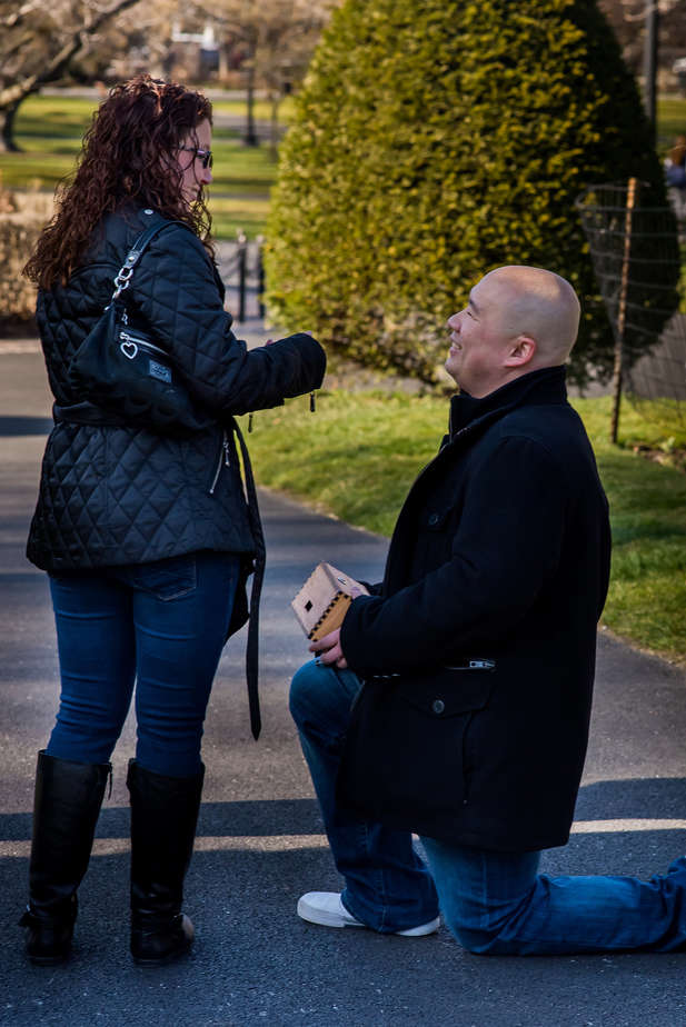 Boston Public gardens marriage proposal photography after Trapology Escape Room