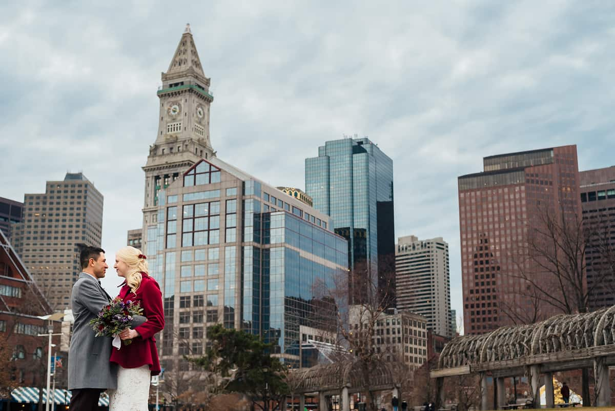 winter boston harbor hotel wedding - julie and yimi
