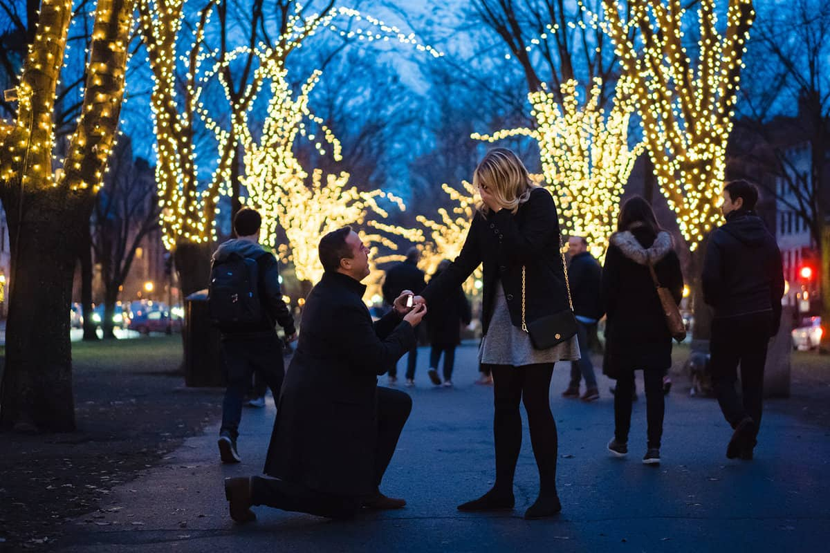 Boston Commonwealth Ave Marriage Proposal Photography by Boston Proposal Photographer Nicole Chan